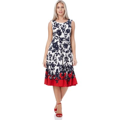 Floral Twist Waist Fit and Flare Dress
