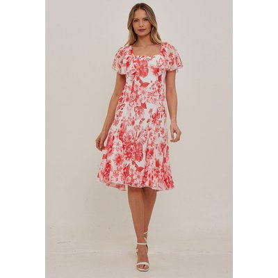 Julianna Floral Chiffon Cape Dress