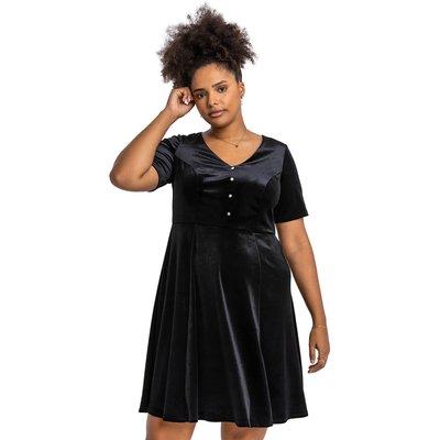 Curve Diamante Button Velvet Dress