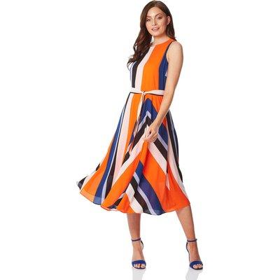 Pleated Stripe Fit and Flare Midi Dress