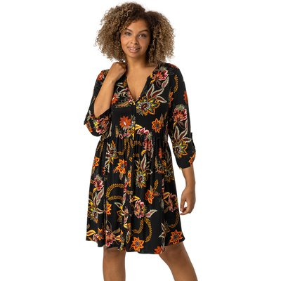 Curve Floral Print Jersey Dress