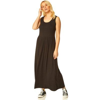 Crochet Back Jersey Maxi Dress