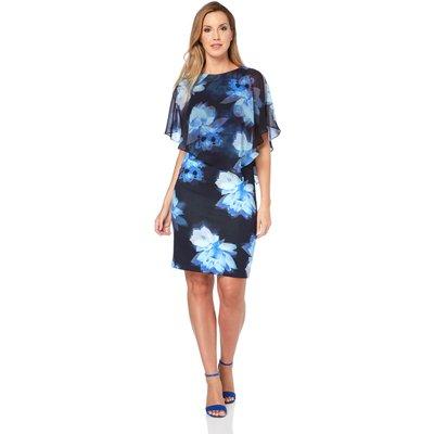 Chiffon Layer Floral Print Scuba Dress