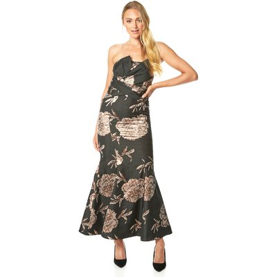 Floral Jacquard Fishtail Maxi Dress