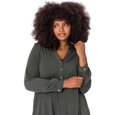 Curve Button Detail Long Sleeve Blouse