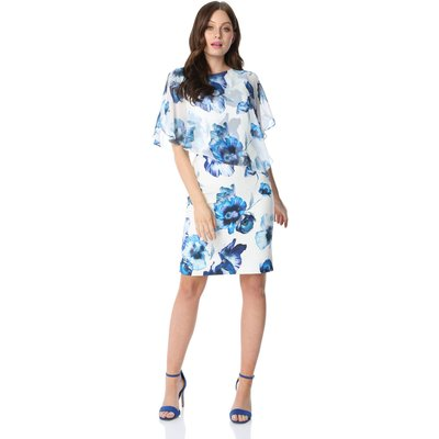 Floral Overlay Split Sleeve Dress