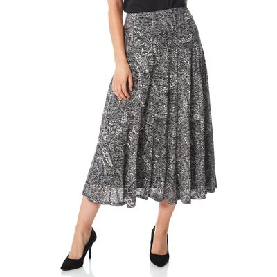 Paisley Print Burnout Midi Skirt