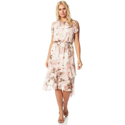 Floral Frill Fit and Flare Midi Dress