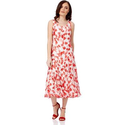Poppy Print Bias Cut Midi Dress