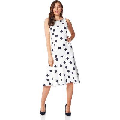 Spot Print Flute Hem Midi Dress