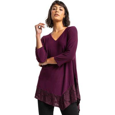 Asymmetric Lace Hem Jersey Top
