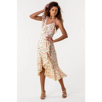 Floral Asymmetric Frill Hem Dress