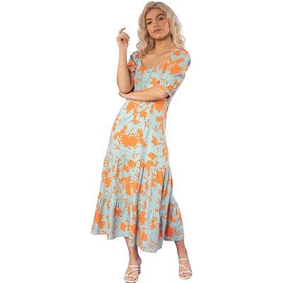 Button Through Floral Print Midi Dress