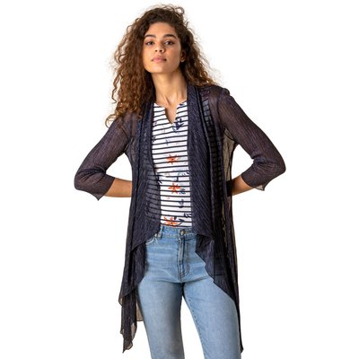 Waterfall Plisse Cover Up Cardigan