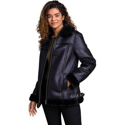 Faux Fur Lined Aviator Jacket