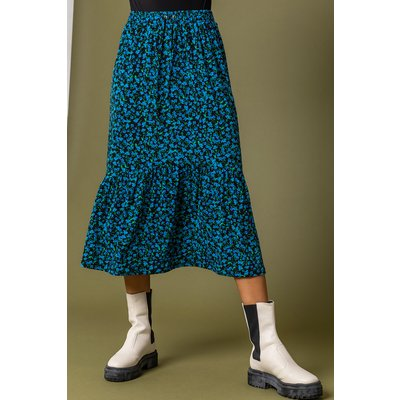 Floral Curved Hem Midi Skirt