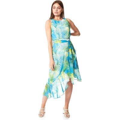 Tropical Print Asymmetric Midi Dress