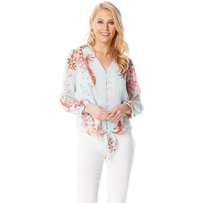 Floral Tie Front Button Blouse