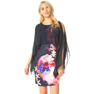 Floral Print Chiffon Overlay Dress