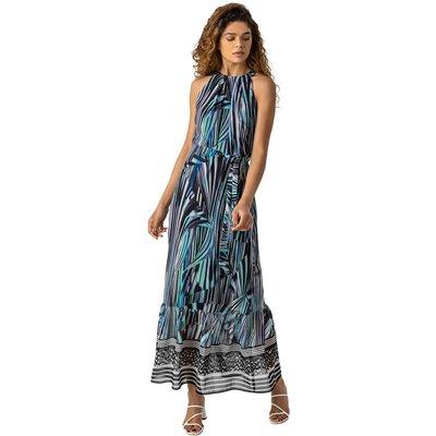 Abstract Stripe Print Halterneck Dress