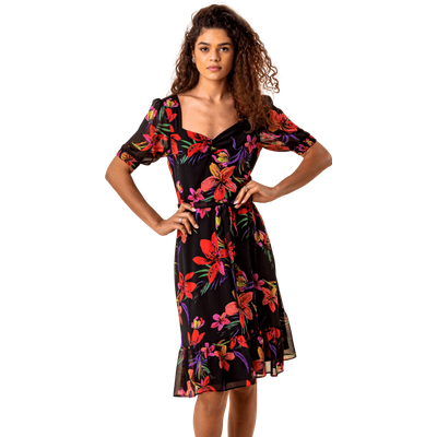 Tropical Floral Print Tea Dress