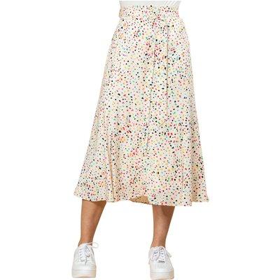 Scattered Spot Print Belted Skirt