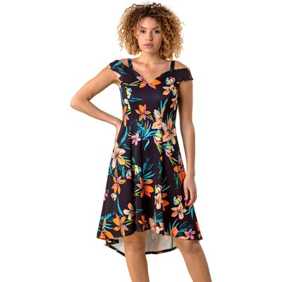 Cold Shoulder Floral Print Dress