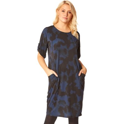 Abstract Floral Pocket Tunic Dress