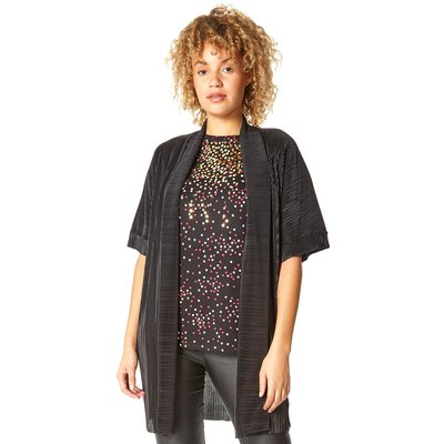 Longline Plisse Kimono Jacket