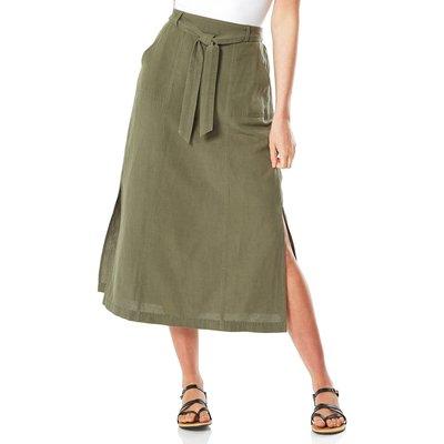 Tie Front Side Split Midi Skirt