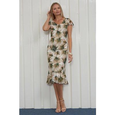 Julianna Tropical Leaf Print Bias Cut Dress