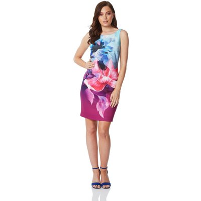 Floral Fitted Scuba Dress