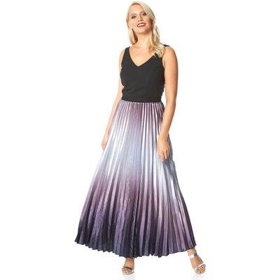 Ombre Satin Pleated Maxi Dress