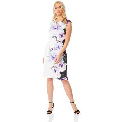Placement Floral Print Scuba Dress