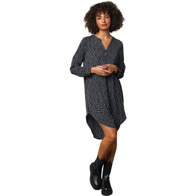 Leaf Print Asymmetric Tunic Dress