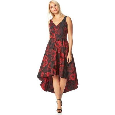 Rose Print Dipped Hem Dress
