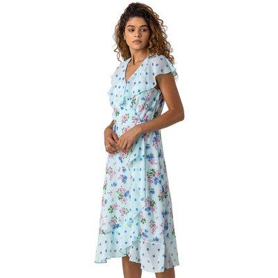 Floral Spot Print Frill Wrap Dress