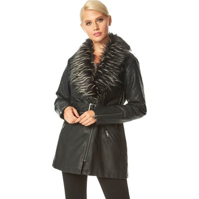 Longline Faux Leather Coat