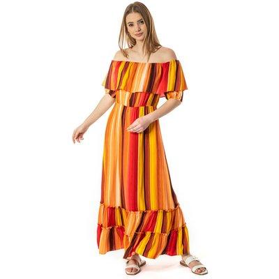 Striped Ruffle Bardot Maxi Dress