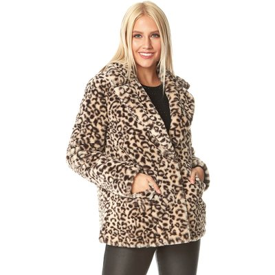 Faux Fur Animal Print Pocket Coat