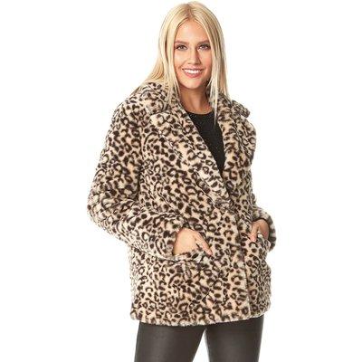 Faux Fur Animal Print Pocket Coat