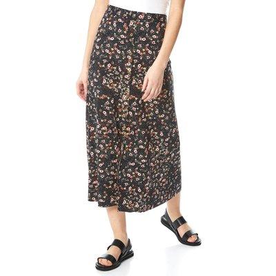 Floral Print Button Through Midi Skirt