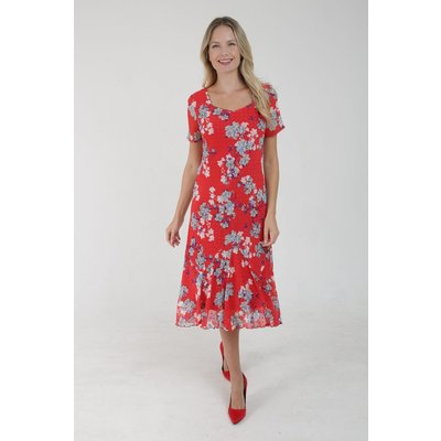 Julianna Floral Print Bias Cut Midi Dress