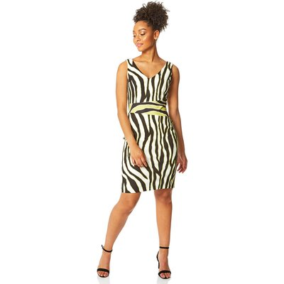 Contrast Zebra Print Scuba Dress