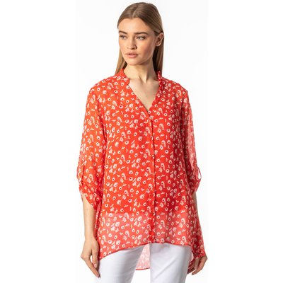 Frill Neck Floral Shirt and Cami Top