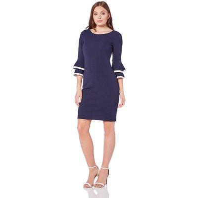 Double Fluted 3/4 Length Sleeve Dress