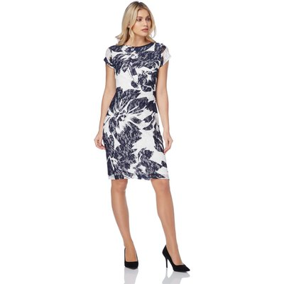 Floral Print Lace Ruched Dress