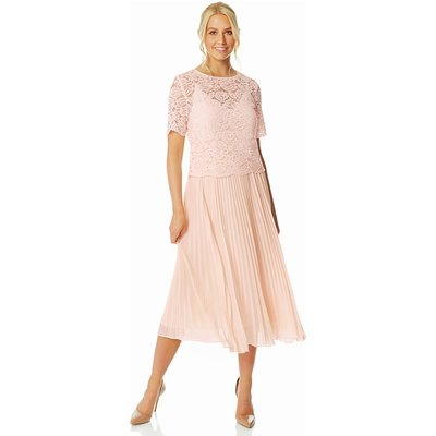 Lace Top Overlay Pleated Midi Dress