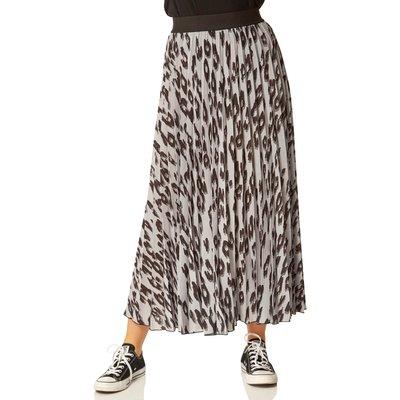 Animal Printed Pleated Maxi Skirt