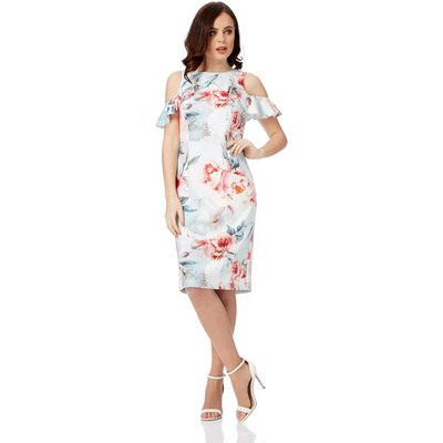 Floral Ruffle Cold Shoulder Scuba Dress